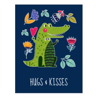Hugs & Kisses. Funny Crocodile Postcards