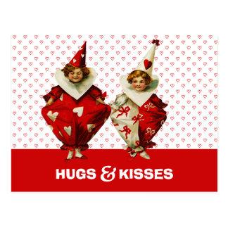 Hugs & Kisses Funny Kids Valentine's Day Postcards