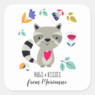 Hugs & Kisses. Funny Raccoon Custom Gift Stickers