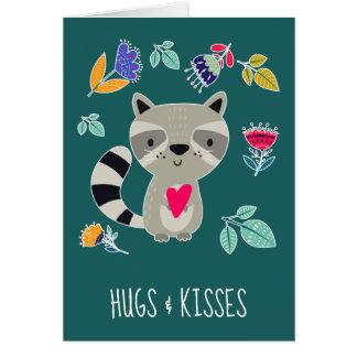 Hugs & Kisses. Funny Raccoon Greeting Cards