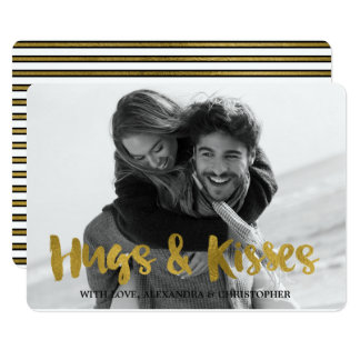 Hugs & Kisses Gold Foil Valentine's Day Photo Card
