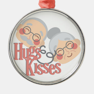 Hugs & Kisses Silver-Colored Round Ornament