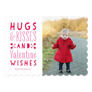 "Hugs & Kisses| Valentine's Day Photo Card 5"" X 7"" Invitation Card"