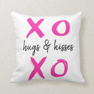 Hugs & kisses, xoxo, Valentine's, pink Throw Pillow