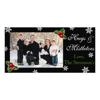 Hugs & Mistletoes Christmas Photo Card