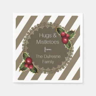"""Hugs & Mistletoes"" Elegant Christmas Napkin"