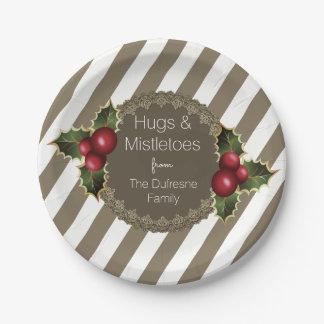 """Hugs & Mistletoes"" Elegant Christmas Paper Plate"