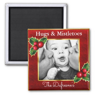 Hugs & Mistletoes Personalized Christmas Magnet