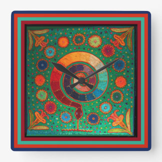 Huichol Peyote Ritual Wall Clock