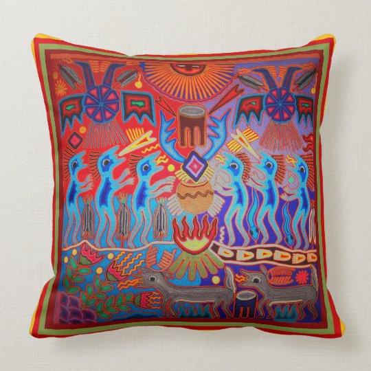 Huichol Shaman Ritual Throw Pillow