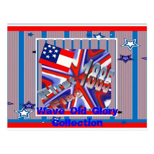 Huit carte postale de ~ de drapeau de rayure de l'