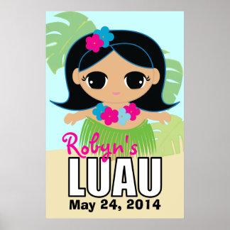 hula cutie BIRTHDAY luau poster