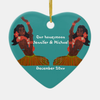 Hula Dancer Aloha Honeymoon Souvenir Ceramic Heart Ornament