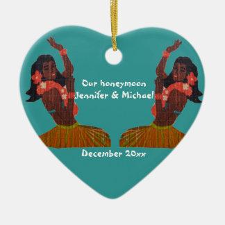 Hula Dancer Aloha Honeymoon Souvenir Ceramic Ornament