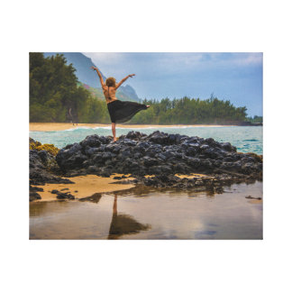 Hula Dancer at Lumaha'i Beach, Kauai, Hawaii Canvas Print