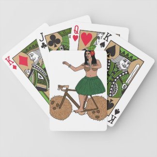 Hula Dancer Riding Bike With Coconut Wheels Bicycle Playing Cards