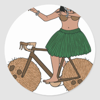 Hula Dancer Riding Bike With Coconut Wheels Classic Round Sticker