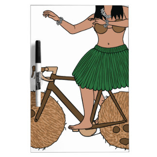 Hula Dancer Riding Bike With Coconut Wheels Dry Erase Boards