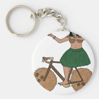Hula Dancer Riding Bike With Coconut Wheels Keychain