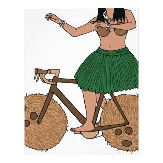 Hula Dancer Riding Bike With Coconut Wheels Letterhead
