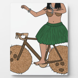Hula Dancer Riding Bike With Coconut Wheels Plaque