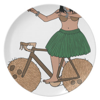 Hula Dancer Riding Bike With Coconut Wheels Plate