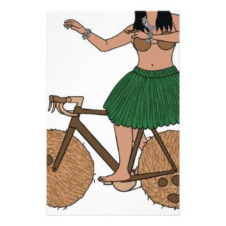Hula Dancer Riding Bike With Coconut Wheels Stationery