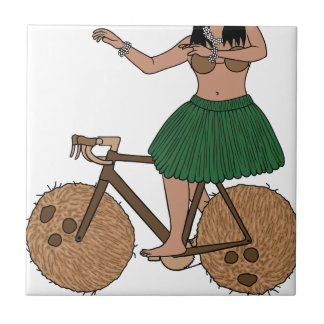 Hula Dancer Riding Bike With Coconut Wheels Tiles