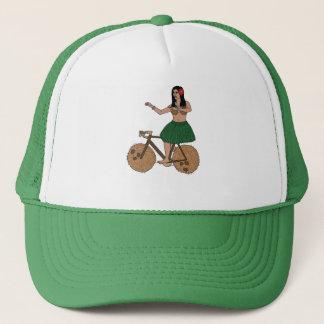 Hula Dancer Riding Bike With Coconut Wheels Trucker Hat