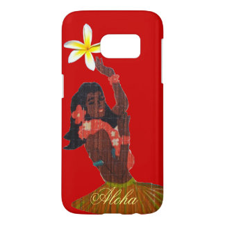 Hula Dancer Tropical Plumeria on red Samsung Galaxy S7 Case