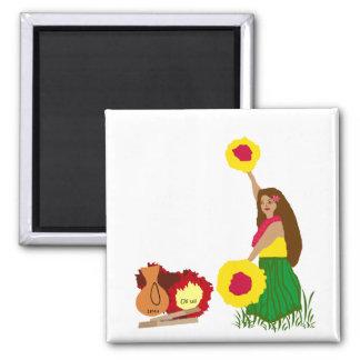 Hula Dancer with her Hawaiian Instruments magnet