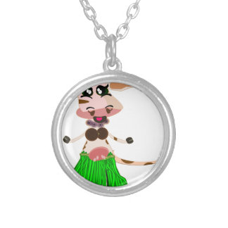 Hula Dancing cow Silver Plated Necklace