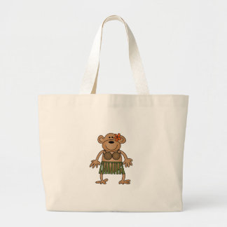 Hula Dancing Monkey Large Tote Bag