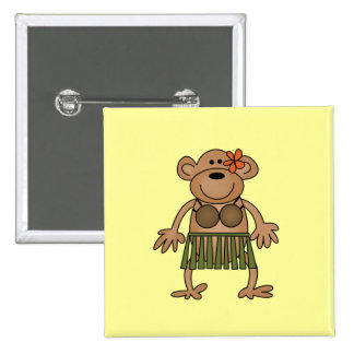 Hula Dancing Monkey Tshirts and Gifts Buttons