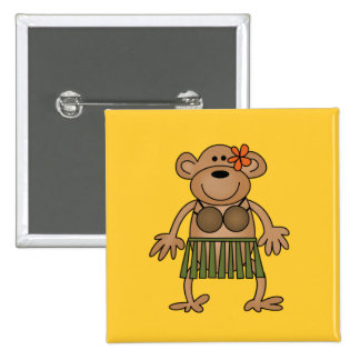 Hula Dancing Monkey Tshirts and Gifts Button