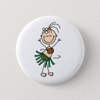Hula Dancing Stick Figure 2 Inch Round Button