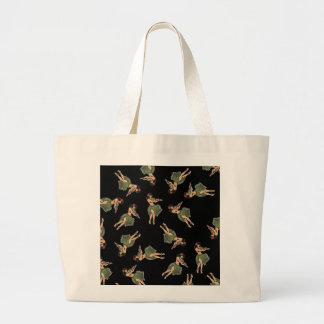 Hula Girl Dancing Pattern Large Tote Bag