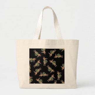 Hula Girl Dancing Pattern Large Tote Bag