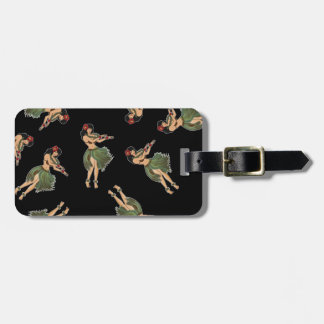 Hula Girl Dancing Pattern Luggage Tag