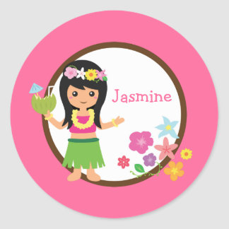 Hula Girl Luau Themed Party Favors Classic Round Sticker