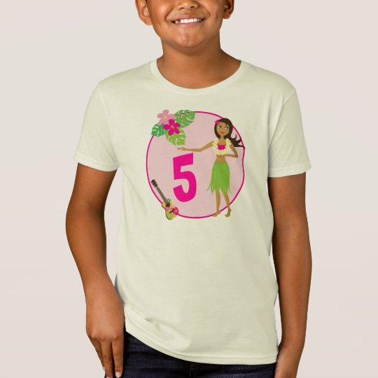 Hula Girl Personalized Age Birthday T-shirt