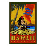 Hula Girl - Waikiki, Hawaii Diamond Head Poster