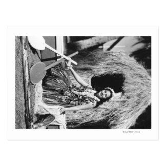 Hula Girl with Outrigger Canoe Hawaii Photograph Postcard