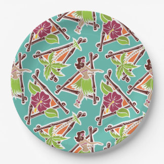 "Hula Honey - Aqua - 9"" Paper Plate"