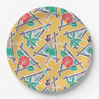 "Hula Honey - Yellow - 9"" Paper Plate"