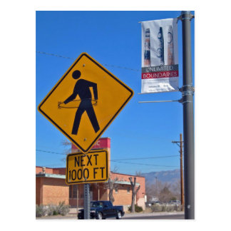 Hula Hoop Pedestrian Sign, Albuquerque New Mexico Postcard
