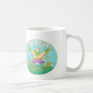 "hula hooping frog says ""YES I CAN!"" Classic White Coffee Mug"