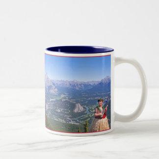 Hula Man in Banff, Canada Two-Tone Coffee Mug