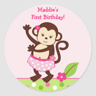 Hula Monkey Birthday Stickers Envelope Seals