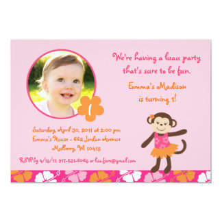 Hula Monkey Luau Party Girls Birthday Invitations